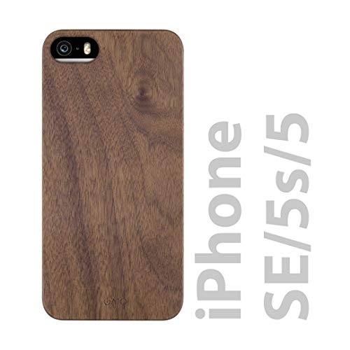 iATO iPhone SE / 5s / 5 Wooden Case - Real Walnut Wood Grain Premium Protective Shockproof Slim Back Cover - Unique, Stylish & Classy Thin Snap on Bumper Accessory Designed for iPhone SE / 5s / 5
