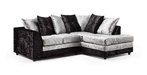Honeypot - Sofa - Harley - 3 + 2 Seater - Corner Sofa - Footstool - Crushed Velvet - (Black/Silver, Right Hand Corner)