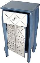 """خزانة/وحدة تحكم بدرج واحد بنمط بومبي من هيذر آن كريشنز مع لمسات عاكسة أمامية معاصر 32.7"""" x 17.3"""" ازرق"""