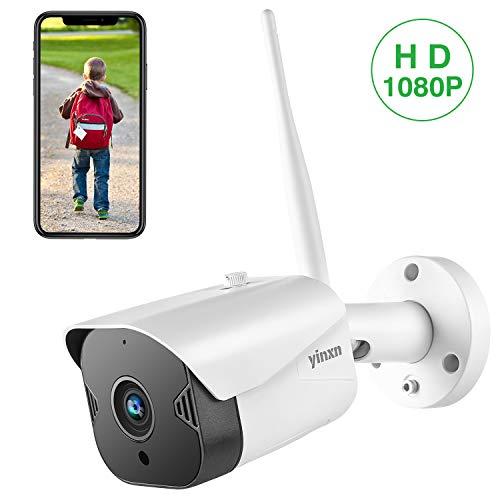 Telecamera di Sorveglianza 1080P Wi-Fi Esterno, YINXN Videocamere impermeabile 2MP, Visione Notturna, Audio Bidirezionale, Accesso Remoto, Rilevazione di Movimento, Android/iOS, Supporta SD Card