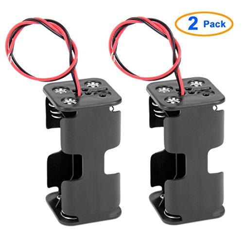 2 Pz Doppio Strato Plastica Nera 4 x AA 6V Supporto Batteria Custodia Con fili