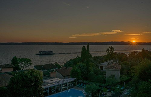 LAMINATED 37x24 Poster: Sunset Lake Garda Italy Landscape Water Summer Blue Tourism Travel Town View Lombardy Scenery Sirmione