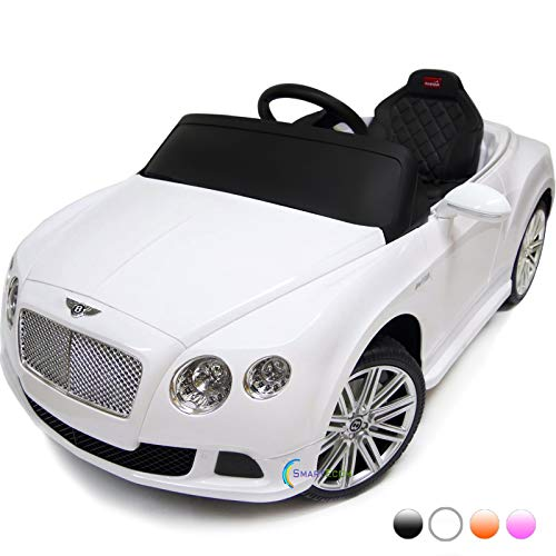 Dollys Shop Bentley Continental 12V Electric Car for Kids - Ride On Car - Battery Powered Ride On Toy Car - with Remote Control - Kids Ride On Toy GT Speed Convertible MP3 Rubber Wheels Horn White