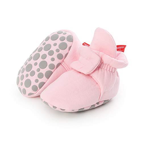 BENHERO Botas de algodão macias para bebês meninos e meninas, sapatos para berço antiderrapantes, meias para recém-nascidos, chinelos de inverno para bebês, B/Pink, 12-18 Months Infant