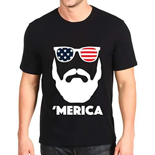 Camiseta con Cuello en o Estampado New Merica Patriotic Beard Gafas de Sol Bandera de EE. UU. Top de algodón para Hombre por Encargo de Manga Corta Black M