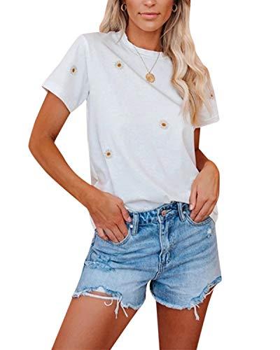 YOINS Damen T-Shirt Kurzarm Top Casual Rundhals Sommer Oberteile Cold Shoulder Ausgeschnitten Pulli Blusen Tee Chrysantheme L
