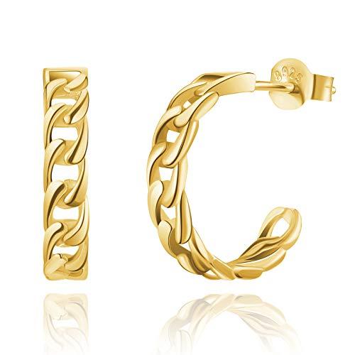 SWEETV Gold Small Hoop Earrings for Women 12mm Huggie Earrings Lightweight 925 Sterling Silver Open Hoops Hypoallergenic Piercing Earring Jewelry for Girls Teens
