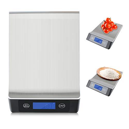 Maxjaa Balance de cuisine numérique en acier inoxydable de qualité supérieure pour la maison, balance de cuisine électronique avec écran LCD et contrôle tactile intelligent, poids maximum 15 kg