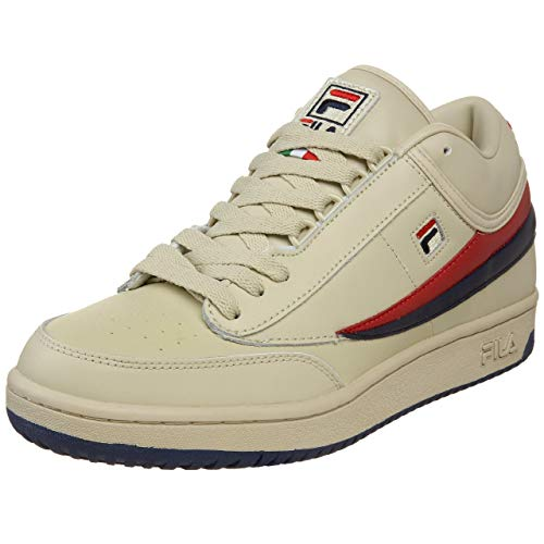 Fila Men's t1 mid Fashion Sneaker, Cream/Peacoat/Chinese Red, 10 M US