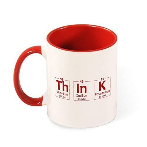 Dkisee Think Chemistry Element zweifarbige Keramiktasse, 325 ml, rot