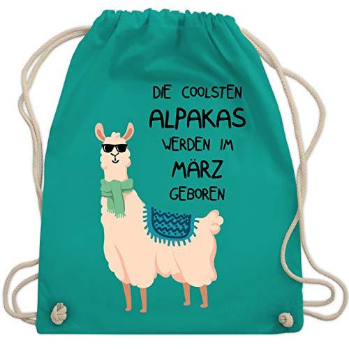 Shirtracer Geburtstag - Die coolsten Alpakas werden im März geboren Sonnenbrille - Unisize - Türkis - rucksäcke cool - WM110 - Turnbeutel und Stoffbeutel aus Bio-Baumwolle
