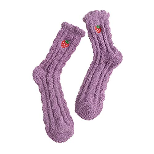 Lazzboy Socken Lustige Socken Damen Tier Muster Niedlich Sneaker Kuschelsocken Frauen Thermal Lässige Zu Hause Weiches Bett Stickerei Schlafen Mittlere Strümpfe(A)