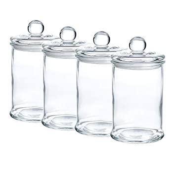 Glass Apothecary Jars Bathroom Storage Organizer Canisters  D3.1 XH5.7