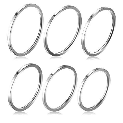 Zysta 6 stück 1MM Damen Ringe Set Edelstahl Midi Stacking Ringe Fingerring, Größe 46.8(14.88) - 59.5(18.95) (Silber)