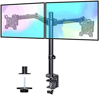 HUANUO Dual Monitor Stand Desk Mount with 2 Mounting Methods