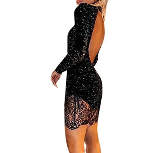 Battnot Damen Mini Kleider Sexy Langarm Rückenfrei Pailletten Spitze Slim Fit Abendkleid, Frauen Elegant Sequin Lace Festlich Hochzeit Cocktailkleid Party Club Kostüm Womens Schwarz Dress S-XL