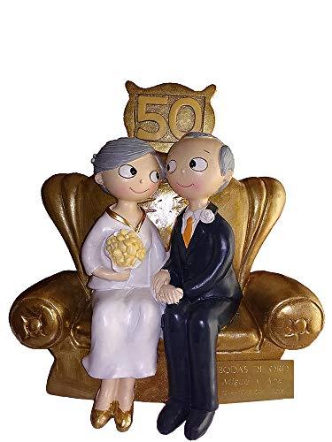 Figura Bodas Oro 50 Aniversario Placa grabada Texto
