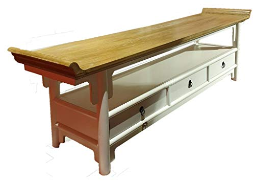Fine Asianliving Chinese TV Kast Dressoir Wit Qiaotou met drie laden 180_x_40_x_55_cmM104101W Chinese Kast Meubels Chinese Kasten Oosterse Meubelen Stijl M104101W
