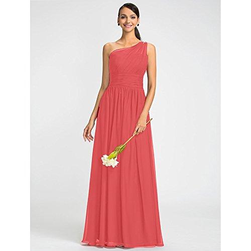kekafu Mantel/Spalte eine Schulter bodenlangen Chiffon Kleid mit Perlen Schärpe/Ribbon Seite Drapieren durch LAN TING Braut, Wassermelone, US 10 / UK 14 / EU 40