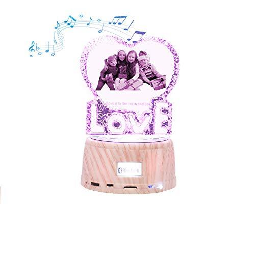 Lámpara de cristal con foto impresa en 3D Luz de noche Luz LED personalizada con Bluetooth Ideas de Navidad Decoración de aniversario LovE