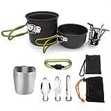 XIAORR-Cookware Kit de Utensilios de Cocina para Acampar, Juego de Olla de Campamento para Solteros Ultraligero para Campamento al Aire Libre con Cubiertos