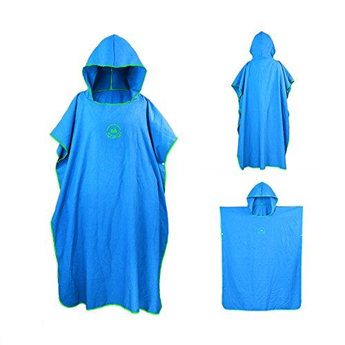 ele ELEOPTION Bade Poncho Microfiber Tauchmantel schnell trocknenden Mantel für Schwimmen Surfing Strand Neoprenanzug (Blau)