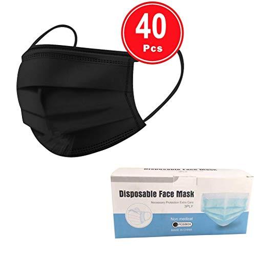 AQIN Einweg Gesichts Mundschutz,dreischichtiges,schmelzgeblasenes Vlies,dick und atmungsaktiv,zuverlässiger Schutz beim Ausgehen-40 Stück (Schwarz)