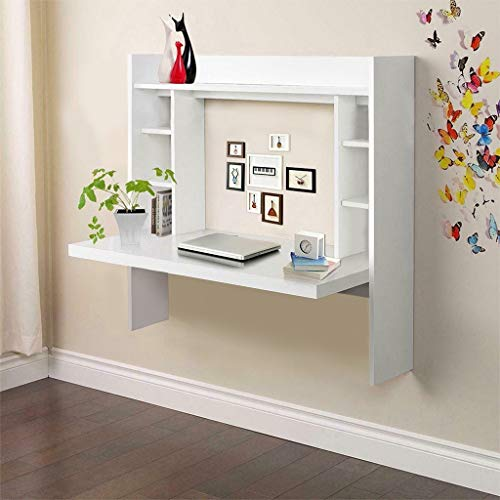 【US Stock】 Wall Mounted Floating Computer Desk,with Storage Shelves Home Computer Table Floating Dining Desk,Durable Laptop PC Table Writing Study Table, Workstation (White)