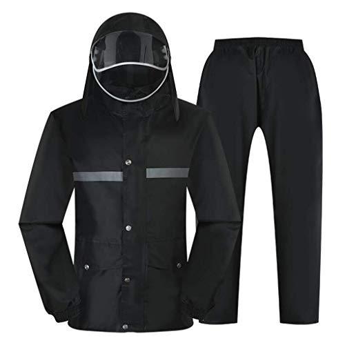 YDS Shop Universele regenjas, voor heren/dames/broek, reflecterende strepen voor de borst/dubbele verdikking, voor buiten reizen, werkkleding L