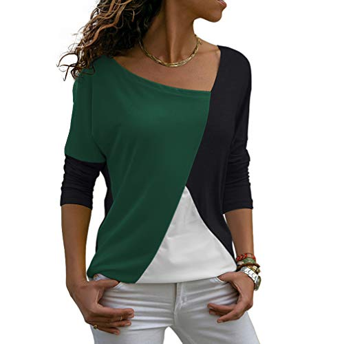 THANTH Womens Shirts Casual Tee Shirts Long Sleeve Patchwork Color Block Loose Fits Tunic Tops Blouses Green Black S