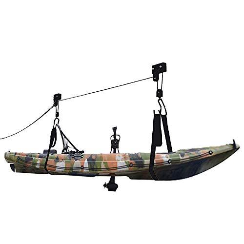 Neolife Kayak Hoist Lift - Garage Storage Hoist Hanger for Bike Ladder, Canoe, Paddleboard (Black, 2 Pack)