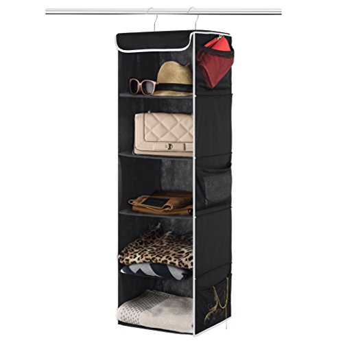 """Zober 5-Shelf Hanging Closet Organizer - 6 Side Mesh Pockets Breathable Polypropylene Hanging Shelves - for Clothes Storage and Accessories, 12"""" x 11 ½ """" x 42"""" (Black)"""