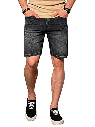 Ombre Heren Korte Jeansbroek Spijkerbroek Met Zakken Klassieke Snit Modieuze Verkleuring En Schaafwonden 98% Katoen 2% Elastaan 1 Kleur Maten S-XXL (S, Zwart) (S, Zwart) (XL, Zwart)