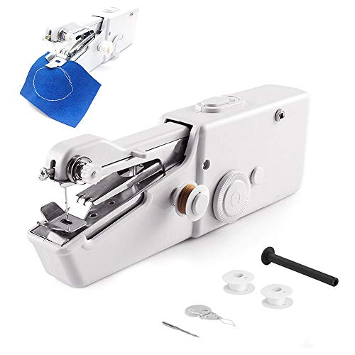 HWHSZ Sewing Machine, Mini Handheld Sewing Machine, Electric Portable Hand Stitch Clothes Quick Repairing for Cloth Curtain DIY Household and Travel Use, Best Gift for Kids &Adult, 2Pcs