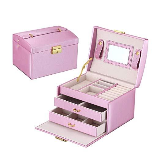Contador de exhibición de la joyería de almacenamiento de almacenamiento Caja de anillo collar de la caja portátil de viaje con el maquillaje de los regalos de cumpleaños Espejo de Navidad for las niñ