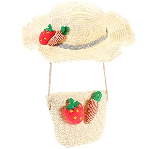 SOIMISS 1 Set Schöne Kinder Stroh Sonnenhut Kinder Stroh Kreuz Tasche Sonnenschutz Hut