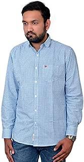 Darien Range Blue Checked 100% Cotton Slim Fit Casual Shirt