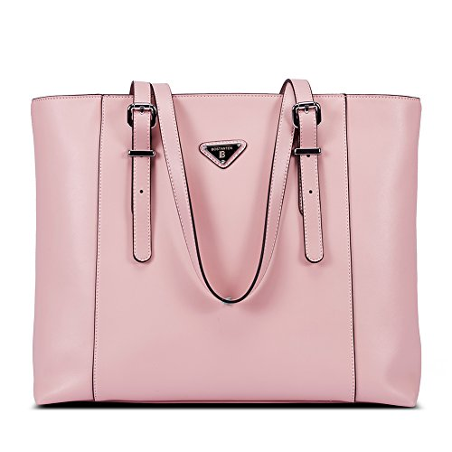 """High Quality -- The laptop briefcase is made of genuine cow leather by professional artisans. Durable fabric lining with custom silver hardware that make the handbag more luxury, generous and elegant. Dimensions -- (L)16.53"""" x (W)4.72"""" x (H)12.60"""", w..."""