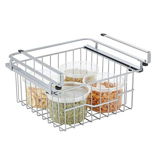 sliding baskets mDesign Compact Hanging Pullout Drawer Basket - Sliding Under Shelf Storage Organizer - Metal Wire - Attaches to Shelving - Easy Install - for Kitchen, Pantry, Cabinet - Silver