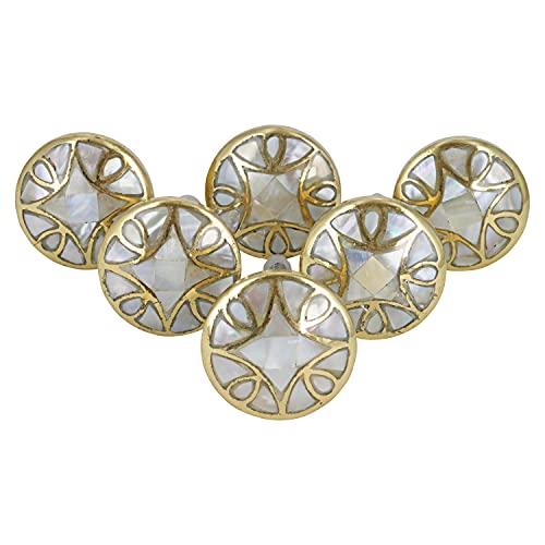 G Decor Keramik-Türknauf, Perlmutt, Gold, Messing, Diamant-Design, Vintage, Shabby Chic, Innenmöbel, Schrank, Schublade, Ziehgriffe (6er-Pack)