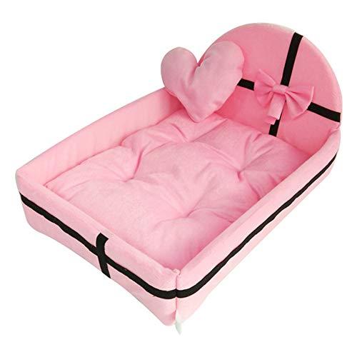 XMCWZJ Princess Hundeschlafsofa Winter Cat-Bett weiche Vlies warmes Hundebett Sofa-Kissen-Haustier-Betten,Rosa,XL