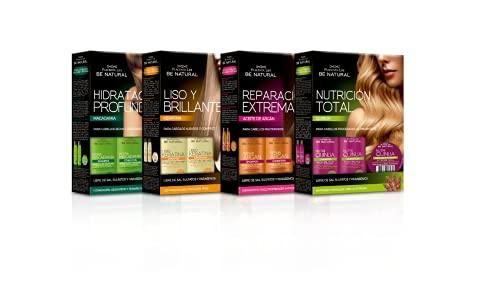 Be Natural, Set de 4 Packs de Viaje: Lisso Keratina, Repair Argan, Nutri Quinua e Hydra Macadamia. 4x1 Minitallas Champú, Acondicionador y Mascarilla