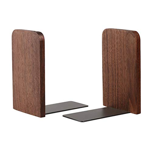 Muso Wood Book Ends for ShelvesDecorative Bookends StandNonSkid Bookends to Hold Heavy BookWalnut