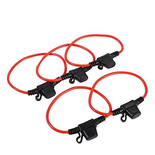 Qiilu 5 pièces Porte-fusibles Lame, 12V 30A Support Porte Fusible Lame Enfichable Etanche avec Fil Câble