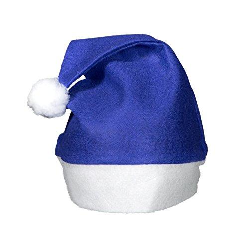 Windy City Novelties (12 Pack) Blue Felt Christmas Santa Hats