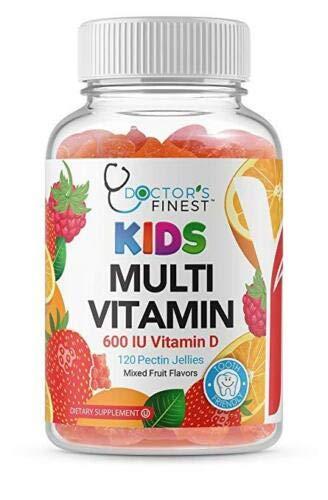Doctors Finest Multivitamin Gummies for Kids – w/ Zinc, Vitamins A, B, C, D & E, Vegetarian, GMO-Free & Gluten Free – Tooth Friendly – Great Tasting Fruit Flavors Pectin Chews – 120 Jellies [60 Doses]