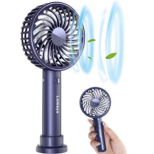 【2020年NEWモデル】 携帯扇風機小型卓上扇風機 持ち運び&置き両用 USB充電式手持ち扇風機2600mAh 大容量超静音ミニ扇風機熱中症対策3段階風量調節 (ネイビー)
