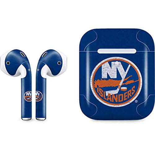 Skinit Decal Audio Skin for Apple AirPods with Wireless Charging Case - Officially Licensed NHL New York Islanders Distressed Design