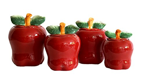 Apple Shaped Red Ceramic Canisters Set