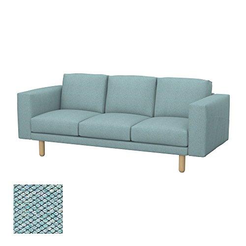 Soferia Bezug fur IKEA NORSBORG 3er-Sofa, Stoff Nordic Sea Green